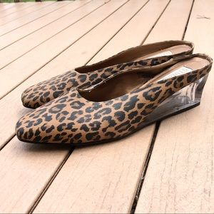 NWT Studio C Leopard Transparent Block Wedge Shoe